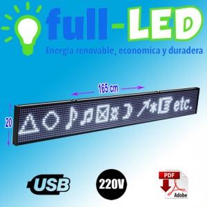 letrero programable led 20 x 165 cm blanco