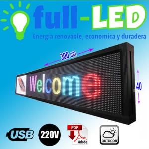letrero programable led rgb  40 x 300  cm outdoor