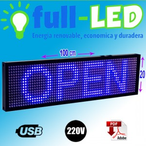 letrero programable led 20 x 100 cm color azul