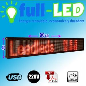 letrero led programable 200 x 40 rojo cm outdoor
