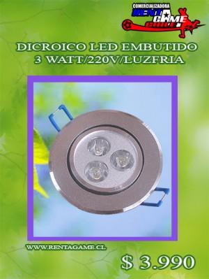 dicroico led embutido 3 watt/220v/luzfria/precio:  $ 3.990