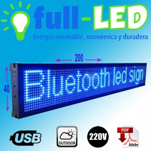 letrero programable led 40 x 200 cm color blanco outdoor
