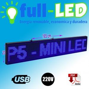 letrero programable led 165 x 20 cm color azul