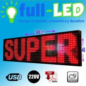 letrero programable led  40x 300 cm rojo outdoor